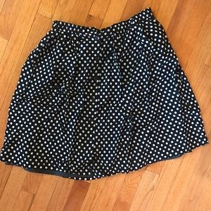 Forever 21 Navy Blue Polka Dot Midi Skirt